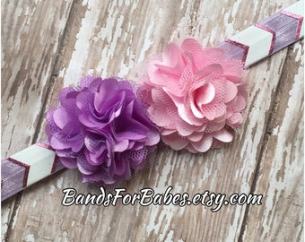 Purple and Pink Satin and Tulle Flower Headband, Baby Headband, Toddler Hair Accessory, Girl Headband, Flower Girl Accessory, Hair Bow,