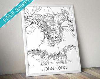 Hong Kong Map Print