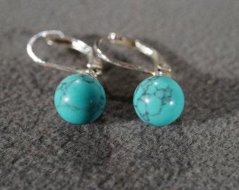 Vintage Art Deco Style Silver Tone Faux Turquoise Round Dangle Pierced Earrings Jewelry   KW24
