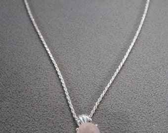 vintage sterling silver chain and pendant with twisted rope chain and large faceted oval rose quartz stone, M1