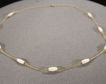 Vintage Art Deco Style Yellow Gold Tone Mother of Pearl Rectangular Line Link Necklace Jewelry -K#70