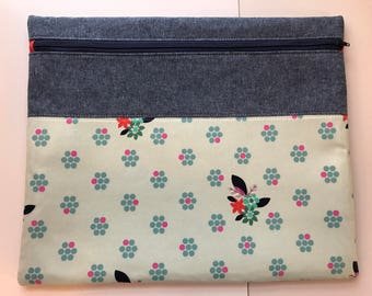 Project Bag - WIP Pouch - Mint Green Floral