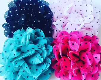 LARGE Polkadot Floral Nylon Headbands