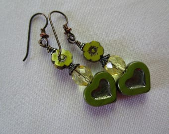 Chartreuse and Yellow Heart and Flower Earrings Czech Glass Rustic BOHO Glass Earrings Hypoallergenic Niobium Ear Wires and Unique Earrings