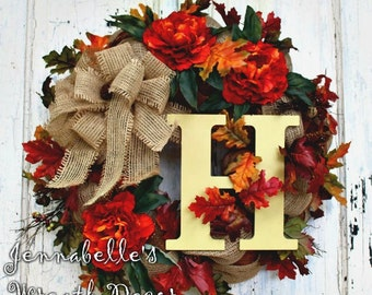Fall Wreath, Peonies, Burlap, Deco Mesh Wreath, Autumn Wreath, Door Decor, Monogram Letter, Copper