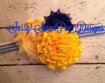 UCLA Bruins inspired Shabby Flower Headband.... Newborn, Baby, Girls Photo Prop Bow