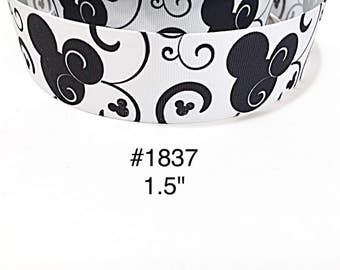 """3 or 5 yard - 1.5"""" Black Minnie or Mickey Mouse inspired with Black Swirl on White Grosgrain Ribbon Hair bow Craft Supply"""