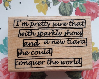 Princess Quote Wood Mounted Rubber Stamp Scrapbooking & Paper Craft Supplies