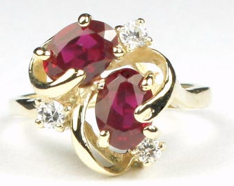 Created Ruby, 14KY Gold Ring, R016