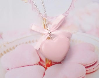 necklace pink heart macaron polymer clay