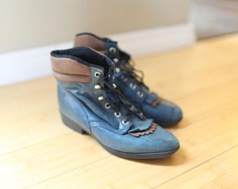 vintage tan & teal leather fringe roper ankle boots lace up womens 6