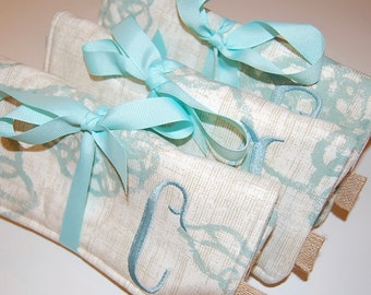 Bridal Party Gifts, Travel Jewelry Roll, Wedding Party Gift, Bridesmaid Gifts, Set of 3, Personalized Gift, Mint Green, Jewelry Bag