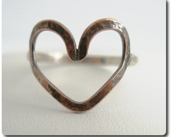Sterling Silver and Copper Open Heart Ring