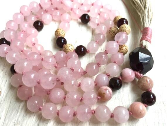 Rose Quartz Mala Beads, Pink Peruvian Opal, Garnet, Lotus Seed Beads, Heart Chakra Mala, Prayer Beads , Stress Relief Yoga Jewelry
