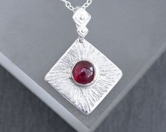 Handmade Garnet and Silver Pendant, Sterling Silver and Garnet, Red Pendant, January Birthstone Pendant Necklace Gift Made To Order
