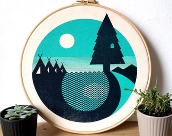 Camping Canvas Screen Print Forest Lake Art Print in Embroidery Hoop by OR8 DESIGN and Button & Stitch