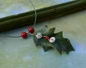 Holly Leaf Leather Necklace with carnelian berry & silver wire spirals