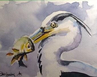 """Watercolor Paintings Original, """" Blue Heron Fisherman"""", 7x10 original watercolor Free Shipping!"""
