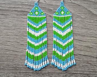 Native American Earrings Inspired. White  Blue  Green Earrings. For Her. Gift For Women. Beadwork