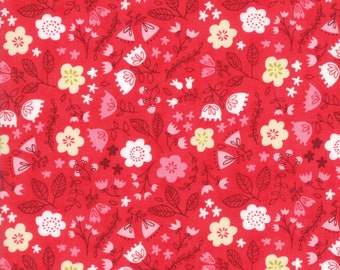 Just Another Walk in the Woods Red Toss the Garden Yardage SKU# 20524-14 by Stacy Iest Hsu for Moda Fabrics