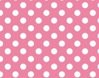 Medium Dots on Hot Pink Yardage by Riley Blake Designs - C360-70 HotPink