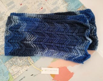 Down by the Water scarf - hand knit from pure New Zealand wool - shades of blue, navy, sky blue, denim