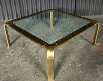 John Widdicomb Brass Glass Coffee Table