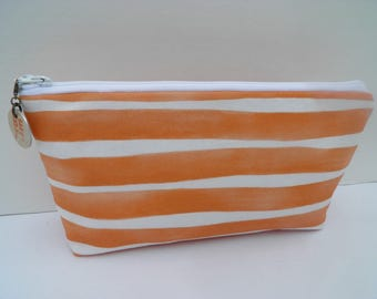 Essential oil zipper pouch, young living, oil organizer, oil travel bag, orange and white watercolor stripe