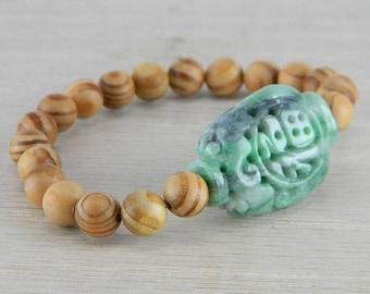 Hand Carved Green Vintage Antique Jadeite Jade Wooden Bead Bracelet FN-B128