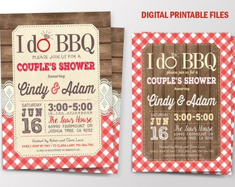 I do BBQ Invitation, I do BBQ  Couples Shower, I do BBQ Couple Shower Invitation, Digital Printable Files