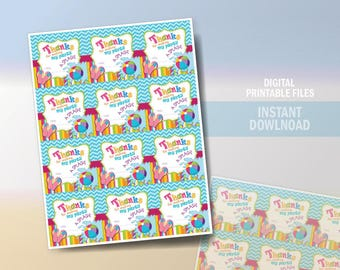 """Pool Party Favor Tags 2.5"""" x 2.5"""", Gift Tags, Pool Birthday Favor tags, Thank You yags, Instant Download, Printable, DIY"""