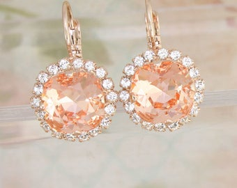 Peach earrings,peach crystal earrings,Swarovski earrings,Swarovski peach,peach bridesmaid earrings,peach wedding,peach bridal jewelry,peach