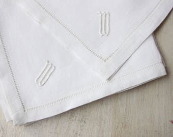 Set of Five Cloth Napkins with 'W' Monogram, White Napkins with Hemstitch, Mid Century, Formal Dining, Wedding Gift, Monogrammed Napkins