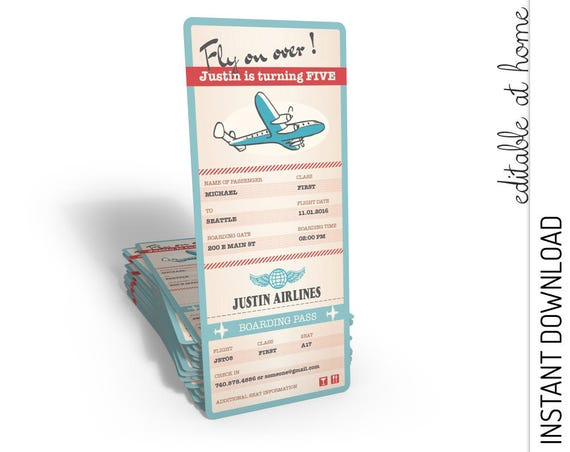 Airplane Boarding Pass Invitation INSTANT DOWNLOAD