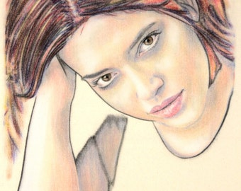 Original one-off portrait of Denise Bidot, in charcoal and pastel on calico