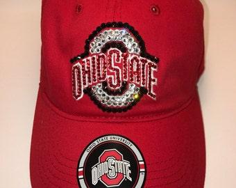 Swarovski crystal bling Ohio State adjustable hat