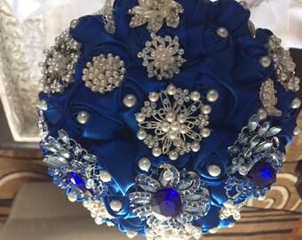 Royal Blue Wedding Brooch Bouquet