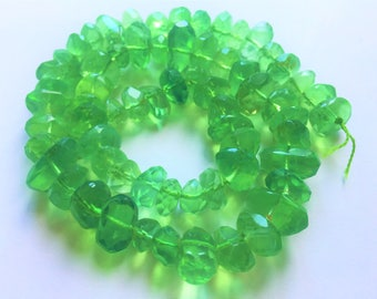 "16"" Natural  Stunning Green Color Polished Faceted Afghan Florite Beads Strand"