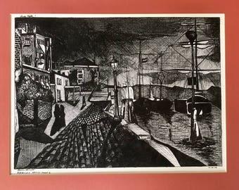 Drawing, Boats, Boardwalk, Pen Drawing