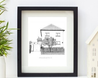Home Sweet Home personalised illustration, framed print 10 x 8""