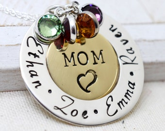 Mom Necklace with Kids Names, Mommy Jewelry Women, Grandma Necklace, Nana Necklace, Personalized Jewelry, Family Necklace, Birthstones