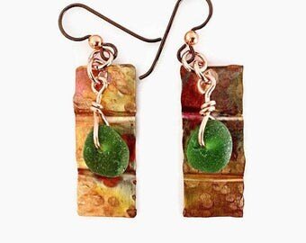 Green Sea Glass and Forged Copper Earrings, Rustic Jewelry, Steampunk, Organic Jewelry,