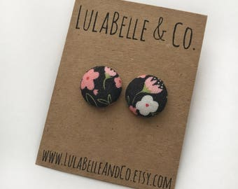 Midnight Rose Button Earring