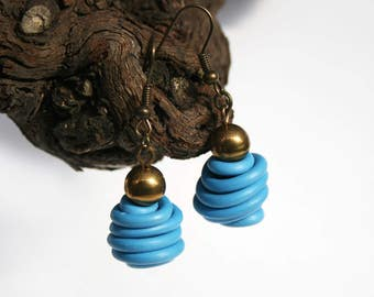 Upcycled jewelry. Blue earrings made of recycled electric cables HONGKONG