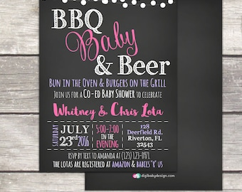 BBQ Baby and Beer baby shower invitation, chalkboard, custom colors, boy or girl shower, printable digital files