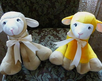 Lamkins Baby Lamb Stuffed Animal/Brown or Yellow Lamb/Baby Sheep Stuffed Animal/Plush/Child Safe Stuffed Toy/Baby Shower/Lambkins