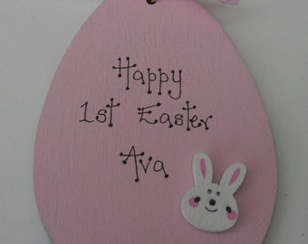 1st first Easter personalised wooden egg pink