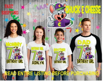 Chuck e Cheese theme birthday Girl/Boy theme Shirts for the entire family Girl Dad Mom  Age Name Custom Raglan T-shirt chuck e' cheese