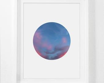 Blue Sky Print, Cloud Art, Cloud Wall Art, Printable Photography, Blue and Pink Sky, Sky Blue, Summer Evening, Sky Print, Sky Photography