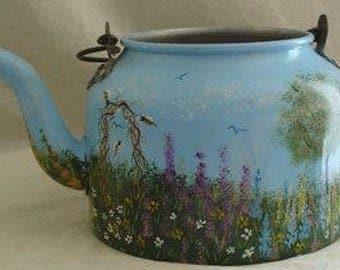 Hand Painted Aluminum Vintage Tea Kettle Pot Hoosier Bees Flowers Trees Art